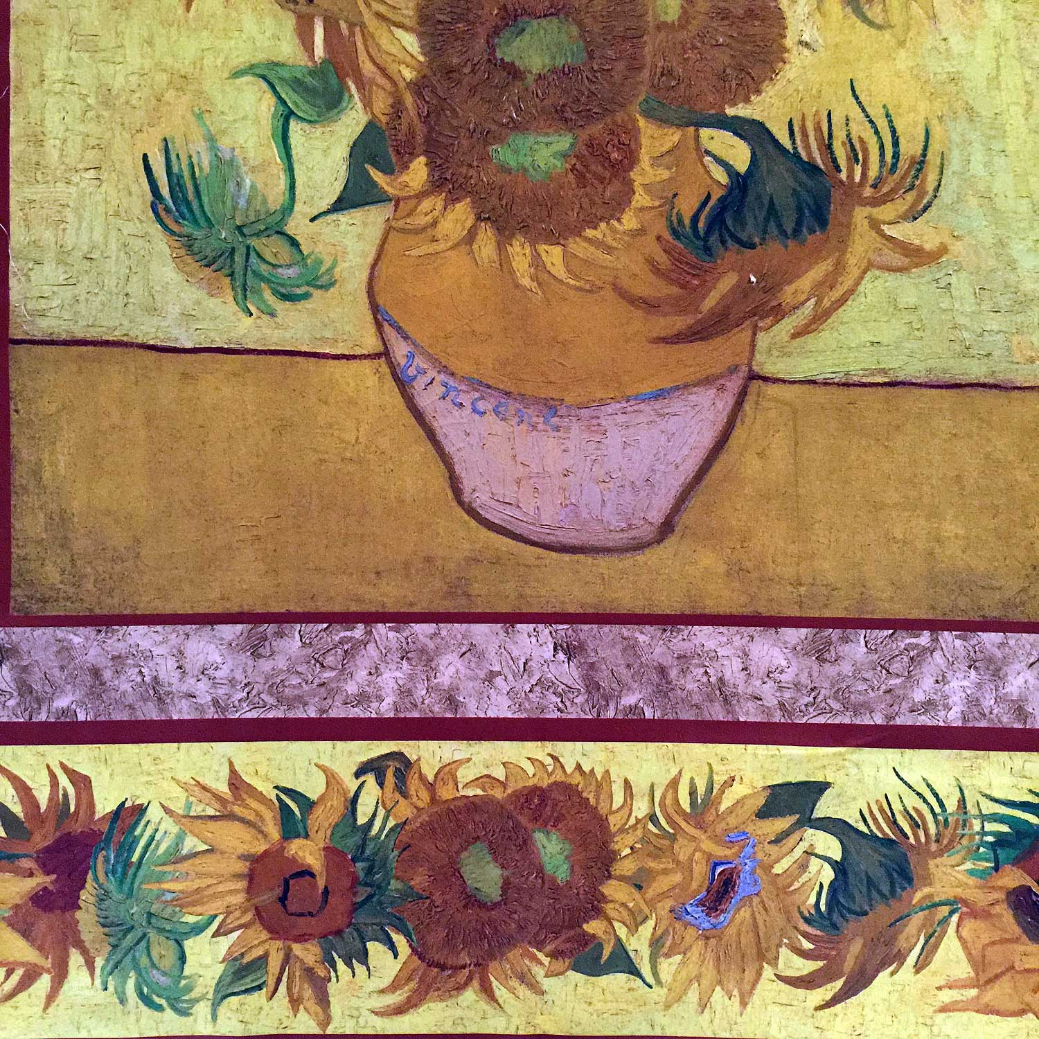 Sunflower Vincent Van Gogh Fabric Panel By Robert Kaufman