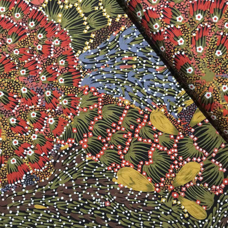 Aboriginal Art Fabric 5 Fat Quarter Bundle Green Amp Red