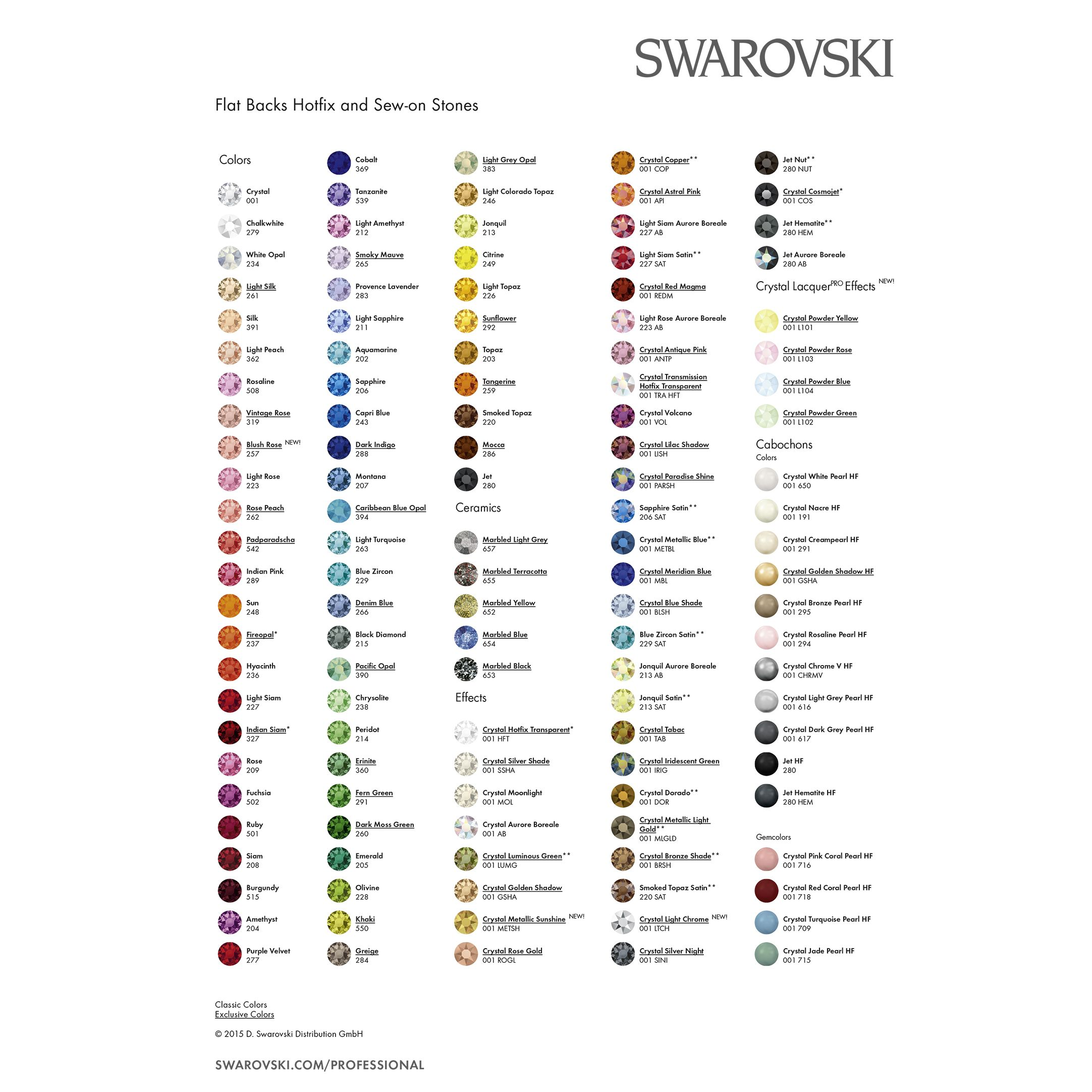 Swarovski Crystal Colours