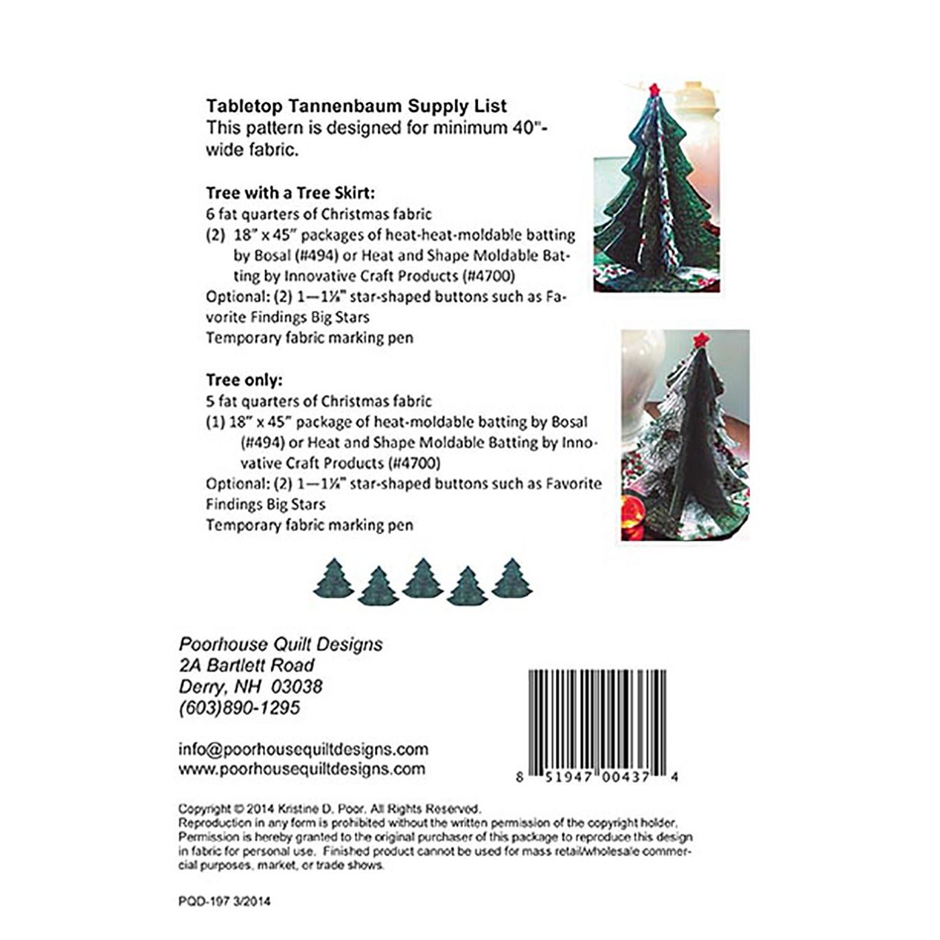 Tabletop Tannenbaum Christmas Tree Pattern by PoorHouse Quilt Designs