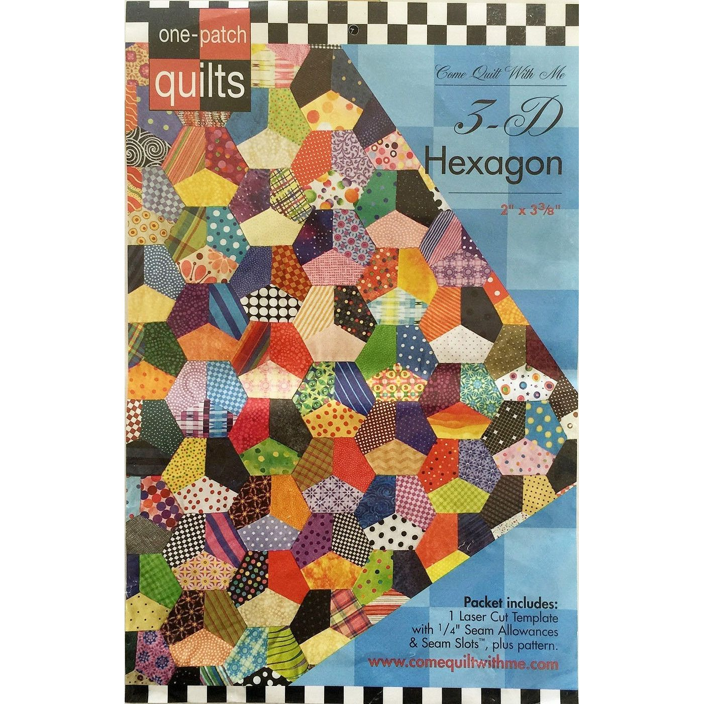 3-D Hexagon One Patch Pattern & Template by Come Quilt with Me : patch it to me quilt - Adamdwight.com