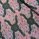 Men Hunting Kangaroo Black Australian Aboriginal Art Fabric by A Nangarri by M & S Textiles Cut from the Bolt - OzQuilts