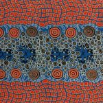 Fire Dreaming Blue Australian Aboriginal Art Fabric by Janet Long by M & S Textiles Cut from the Bolt - OzQuilts
