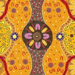 Womens Business Gold Australian Aboriginal Art Fabric by E Young by M & S Textiles Cut from the Bolt - OzQuilts