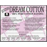 "Quilters Dream Select 100% Cotton Batting King Size 122"" x 122"""