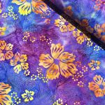 Benartex Mai-Tae Bali Batik: Plum/Orange Tropic Flowers by Island batik Batik - OzQuilts