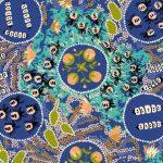 Witchety Grub Blue Australian Aboriginal Art Fabric by Audrey Martin Napanangka by M & S Textiles Cut from the Bolt - OzQuilts