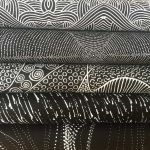 "Aboriginal Art Fabric 10 pieces 10"" Squares Layer Cake Pack - Black Colourway by M & S Textiles"