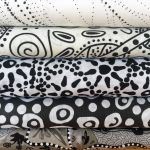 "Aboriginal Art Fabric 10 Pieces 2.5"" Strips Jelly Roll pack - Black White Colourway by M & S Textiles"