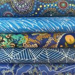 "Aboriginal Art Fabric 10 pieces 10"" Squares Layer Cake Pack - Blue Colourway by M & S Textiles"