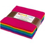 "Kona Cotton Solids 5"" Charm Squares - Bright Colourstory 101 squares by Robert Kaufman Fabrics"