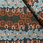 "Aboriginal Art Fabric 10 Pieces 2.5"" Strips Jelly Roll pack - Brown & Gold Colourway by M & S Textiles"