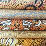"Aboriginal Art Fabric 10 pieces 10"" Squares Layer Cake Pack - Gold Colourway by M & S Textiles"