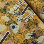 "Aboriginal Art Fabric 10 Pieces 2.5"" Strips Jelly Roll pack - Gold Colourway by M & S Textiles"