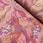 "Aboriginal Art Fabric 10 Pieces 2.5"" Strips Jelly Roll pack - Purple & Pink Colourway by M & S Textiles Australian Aboriginal Art Fabrics - OzQuilts"