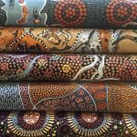"Aboriginal Art Fabric 10 pieces 10"" Squares Layer Cake Pack - Brown Gold Colourway by M & S Textiles"