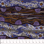 Sandy Creek Purple Australian Aboriginal Art Fabric by Janet Long Nakamarra by M & S Textiles Cut from the Bolt - OzQuilts