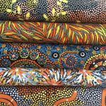 "Aboriginal Art Fabric 10 pieces 10"" Squares Layer Cake Pack - Blue & Orange by M & S Textiles 10"" Squares - OzQuilts"