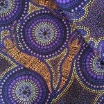 "Aboriginal Art Fabric 10 Pieces 2.5"" Strips Jelly Roll pack  - Purple Yellow Colourway by M & S Textiles 2.5"" Strips - OzQuilts"