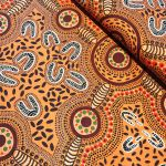 """Aboriginal Art Fabric 20 pieces 5"""" Square Charm Pack - Purple Yellow Colourway by M & S Textiles 5"""" Squares - OzQuilts"""