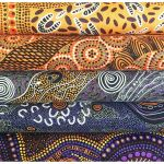 "Aboriginal Art Fabric 10 Pieces 2.5"" Strips Jelly Roll pack  - Purple Yellow Colourway by M & S Textiles Australian Aboriginal Art Fabrics - OzQuilts"