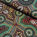 Sacred Woman's Song Black Australian Aboriginal Art Fabric by Faye Oliver by M & S Textiles Australian Aboriginal Art Fabrics