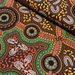 Sacred Woman's Song Brown Australian Aboriginal Art Fabric by Faye Oliver by M & S Textiles Australian Aboriginal Art Fabrics
