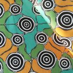 "Aboriginal Art Fabric 10 pieces 10"" Squares Layer Cake Pack - Green by M & S Textiles Australian Aboriginal Art Fabrics - OzQuilts"