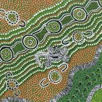 Goanna Dreaming Green Australian Aboriginal Art Fabric by Heather Kennedy by M & S Textiles Cut from the Bolt - OzQuilts