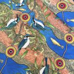Kingfisher Camp by River in Ecru Australian Aboriginal Art Fabric by Nambooka by M & S Textiles Cut from the Bolt - OzQuilts