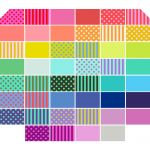 "Tula Pink All Stars 2.5"" Strips Pom Poms, Stripes & Solids 46 pieces by Tula Pink Fat Quarter Packs"