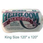 "Hobbs 100% Cotton BLEACHED Batting King Size 120"" x 120"" by Hobbs Batting Pre-Cut Batts - OzQuilts"
