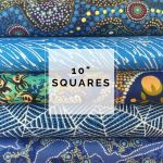 "Aboriginal Art Fabric 10 pieces 10"" Squares Layer Cake Pack - Blue Colourway by M & S Textiles Australian Aboriginal Art Fabrics - OzQuilts"