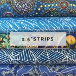 "Aboriginal Art Fabric 10 Pieces 2.5"" Strips Jelly Roll pack - Blue Colourway by M & S Textiles Australian Aboriginal Art Fabrics - OzQuilts"