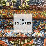 "Aboriginal Art Fabric 10 pieces 10"" Squares Layer Cake Pack - Blue & Orange by M & S Textiles 10"" Squares - OzQuilts"