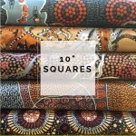 "Aboriginal Art Fabric 10 pieces 10"" Squares Layer Cake Pack - Brown Gold Colourway by M & S Textiles 10"" Squares - OzQuilts"