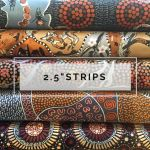 "Aboriginal Art Fabric 10 Pieces 2.5"" Strips Jelly Roll pack - Brown & Gold Colourway by M & S Textiles Australian Aboriginal Art Fabrics - OzQuilts"