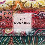 "Aboriginal Art Fabric 10 pieces 10"" Squares Layer Cake Pack - Black, Red & Yellow by M & S Textiles 10"" Squares - OzQuilts"