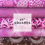 "Aboriginal Art Fabric 10 pieces 10"" Squares Layer Cake Pack - Light Purple Colourway by M & S Textiles Australian Aboriginal Art Fabrics - OzQuilts"
