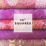 "Aboriginal Art Fabric 10 pieces 10"" Squares Layer Cake Pack - Purple Pink Colourway by M & S Textiles Australian Aboriginal Art Fabrics - OzQuilts"