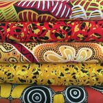"Aboriginal Art Fabric 10 pieces 10"" Squares Layer Cake Pack - Red & Yellow by M & S Textiles 10"" Squares - OzQuilts"