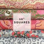 "Aboriginal Art Fabric 10 pieces 10"" Squares Layer Cake Pack - Ash Pink by M & S Textiles 10"" Squares - OzQuilts"