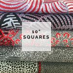 "Aboriginal Art Fabric 10 pieces 10"" Squares Layer Cake Pack - Black & Red Colourway by M & S Textiles Australian Aboriginal Art Fabrics - OzQuilts"