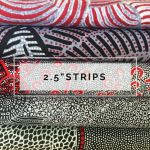 "Aboriginal Art Fabric 10 Pieces 2.5"" Strips Jelly Roll pack - Black White & Red by M & S Textiles Australian Aboriginal Art Fabrics - OzQuilts"