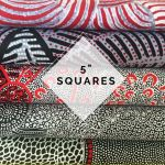 "Aboriginal Art Fabric 20 pieces 5"" Square Charm Pack - Black, White and Red Colourway by M & S Textiles Australian Aboriginal Art Fabrics - OzQuilts"