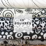 "Aboriginal Art Fabric 10 pieces 10"" Squares Layer Cake Pack - Black & White Colourway by M & S Textiles 10"" Squares - OzQuilts"