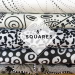 "Aboriginal Art Fabric 20 pieces 5"" Square Charm Pack - Black & White Colourway by M & S Textiles 5"" Squares - OzQuilts"