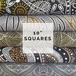 "Aboriginal Art Fabric 10 pieces 10"" Squares Layer Cake Pack - Black, White & Gold by M & S Textiles Australian Aboriginal Art Fabrics - OzQuilts"