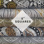 "Aboriginal Art Fabric 20 pieces 5"" Square Charm Pack - Black, White & Gold by M & S Textiles 5"" Squares - OzQuilts"