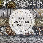 Aboriginal Art Fabric 5 Fat Quarter Bundle - Black White Gold Colourway by M & S Textiles Fat Quarter Packs - OzQuilts
